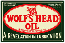 Wolf's Head Oil Service Station Gas Sign
