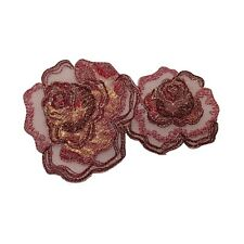 ID 6669 Pink Gold Rose Blossoms Flowers Iron On Embroidered Patch Applique