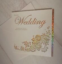 Luxury Laser Cut Pearlised Holographic Wedding Card Bride Groom Mr and & Mrs