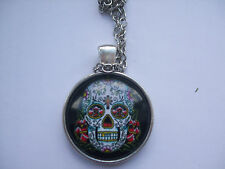 Cabochon Tibetan silver Glass Chain Pendant Necklace skull decorated haloween