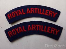 Pair of British Military Army Royal Artillery Cloth Shoulder Titles, Badges