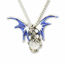 Mystical Blue & White Dragon Pewter Necklace with Clear Crystal Ball NK-136CL