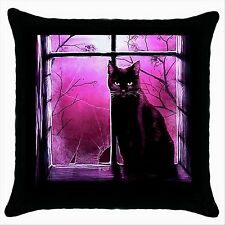 NEW* HOT CUTE BLACK CAT Quality Black Cushion Cover Throw Pillow Case Gift 01