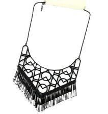 Goth punk style massive black Geometric pattern necklace