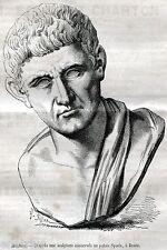 Roma:Palazzo Spada:Busto di Aristotele.Filosofia.Stampa Antica.Passepartout.1883