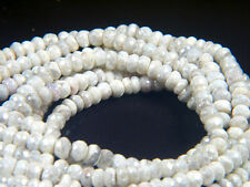 "Sparkling White Opaque Sapphire Faceted Gemstone Rondelle Beads 13"" Strands"