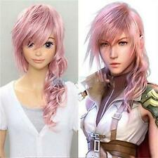 HOT SELL! Lightning Long Curly Pink Anime Cosplay Skin Top Hair Wig+free wig cap