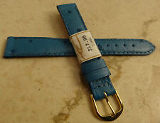 Made in France Light Blue Ostrich Grain 14mm Watch Band Gold Tone Buckle $17.95