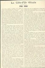 21 COTE D' OR VITICOLE PRO VINO ARTICLE DE PRESSE PAR DOCTEUR CHAUVEAU 1923