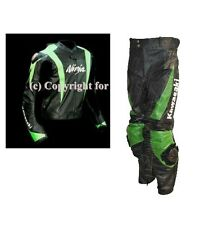 Mens Green Black Kawasaki Ninja Motorcycle Leather Suit Jacket Hump and Pants