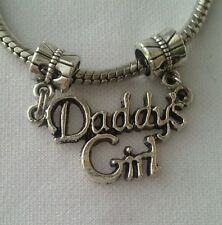 Daddy's Girl Dangle Charm Double Ends Fits European Style Bracelet Silver