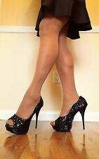 "Women's Shoes/Well Worn Black 5.5"" Sequins Platform Heels/De Blossom/ Size 9/10"