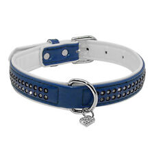 Bling Rhinestone PU Leather Dog Collars With Heart Pendant for Chihuahua Yorkie