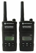 MOTOROLA XTNID PMR446 LICENCE FREE WALKIE-TALKIES & G-SHAPE EARPIECES x 2