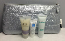 SEPHORA SILVER MAKEUP/COSMETIC BAG WITH VICHY, SKYN, EXUVIAN DELUXE SAMPLES