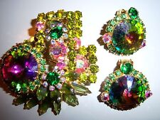 GORGEOUS VTG JULIANA HELIOTROPE WATERMELON RIVOLI RHINESTONE BROOCH EARRING SET