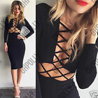 Womens Bodycon Long Sleeved LBD Cut Out Lattice Evening Party Ladies Midi Dress