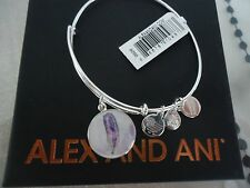 Alex and Ani FEATHER ART INFUSION Bangle Shiny Silver New W/Tag Card & Box