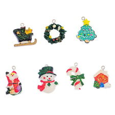 14PCs Mixed Resin Pendants Christmas Charms Ornaments