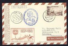 58749) Österreich Ballonpost RBF 15 Wien 29.4.56, Karte ab Luxemburg