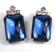 Vintage Juliana D&E Clip Earrings HUGE SAPPHIRE BLUE GLASS & AB RHINESTONES
