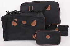 4 x LUGGAGE SET BLACK BROWN SUIT CASE TOTE TOILETRY MAKEUP BAG BNIB