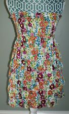 Double Zero floral smocked tiered ruffled strapless dress womens size S