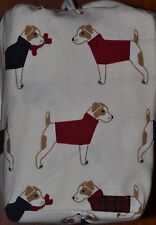 Flannel Twin Sheet Set~Christmas Terrier Dog~Holiday~Red Plaid~Ivory~Cannon~NEW