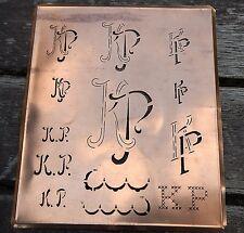 """Monogramm """" KP """" Wäschemonogramm Wäscheschablone Wäschezeichen 11/13 cm KUPFER"""