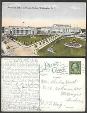 1914 Railroad Postcard - Washington, DC - New Post Office, Union Station, Depot