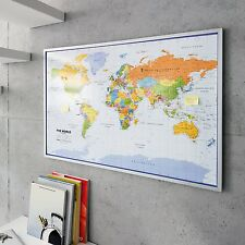 Map Of The World Pinboard 90 x 60 cm With 12 Flag Pins English Noticeboard Maps