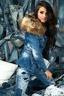 By Alina Damenjacke Jeansjacke Jeansmantel Jeans Blazer Jacke Winterjacke Mantel