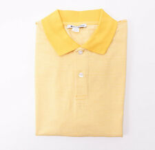 New $160 AQUASCUTUM Golden Yellow Stripe Extrafine Cotton Polo Shirt L