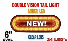 "24 LED 6"" OVAL ""MIRAGE"" STOP,TURN & TAIL LIGHT- AMBER/CLEAR LENS"