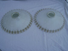 Abat-jour ancien en opaline blanche monte et descend bord transparent ( lot de 2