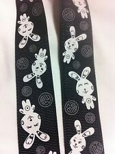 "1"" 25mm CUTE WHITE BUNNY ON BLACK GROSGRAIN RIBBON/5YARDS/DIY HAIRBOW/HAIRBAND"