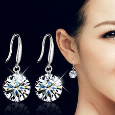 Fashion Women Silver Plated Ear Hook Crystal White Rhinestone Earring Jewelry