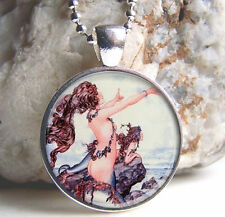 Vintage Mermaid Cabochon Silver plated Glass Ball Chain Pendant Necklace H#43