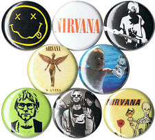 Nirvana 8 pins buttons badges kurt cobain nevermind in utero 90s grunge smiley
