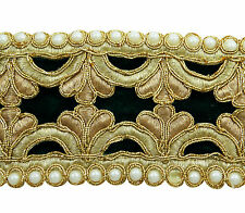 Beaded Embroidered Trim 7.6 Cm Wide Sewing Cut Work Supply Craft Lace By 1 Yard