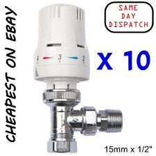 "10 x  Thermostatic Radiator Valve 15mm & 10mm x 1/2"" Angled White Chrome Rad TRV"