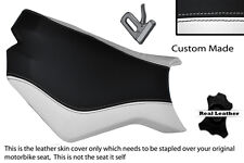 BLACK & WHITE CUSTOM FITS KTM SUPERDUKE 990 R 07-12 FRONT LEATHER SEAT COVER