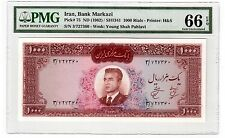 "Iran 1000 Rial Banknote 1962 Pick# 75 PMG Gem UNC 66 EPQ ""Shah"" Extremely Scarce"