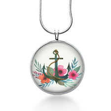 Anchor with Flowers Necklace - Nautical Jewelry - Handmade - Art Pendant