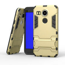 Hybrid Rugged Shockproof Rubber Case Clip Holster For Google Nexus 5X-Gold