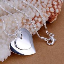 925 Silver Double Love Heart Pendant Necklace 18'' Gift Present Chain Ladies UK
