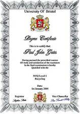 Fun Diploma Certificate  A4 ( Novelty ) 3 designs to choose from 130gms Matt