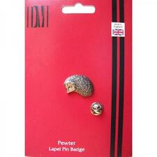 Hedgehog English Pewter Lapel Pin Badge Hog Spiny Mammel Present GIFT BOX