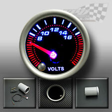"VOLT GAUGE 52mm 2"" SMOKED FACE 7 COLOUR DASH DISPLAY GAUGE MOUNT POD"