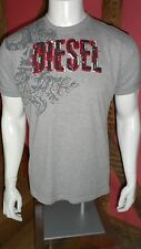 Lge Grey Short Sleeve T Shirt with Graphic Print Front Distressed Logo by Diesel